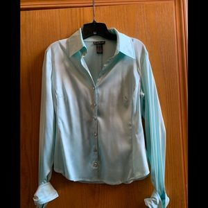Bebe silk holiday blouse size L